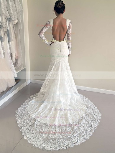 New Backless Scoop Neck Lace Court Train Appliques Lace Long Sleeve Trumpet/Mermaid Wedding Dresses #PDS00022527