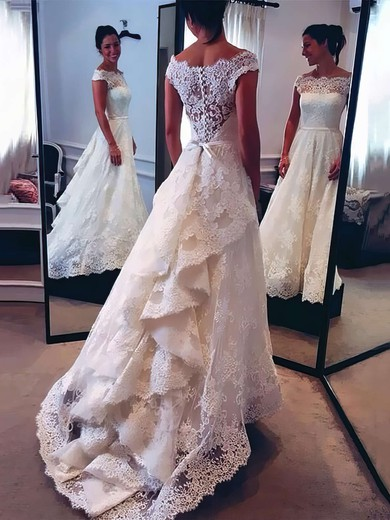 A-line Scalloped Neck Watteau Train Sashes / Ribbons Elegant Lace Wedding Dresses #PDS00022528