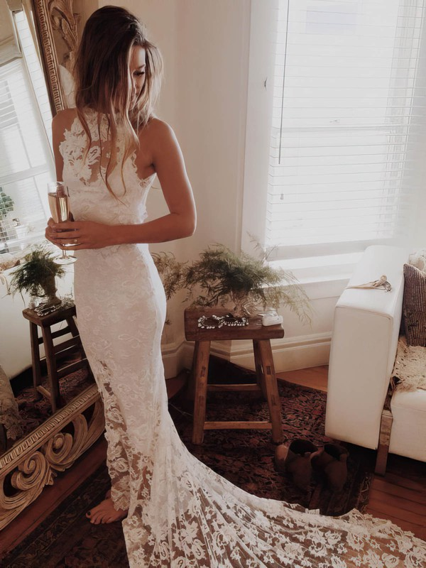 Trumpet/Mermaid Scoop Neck Lace Court Train Appliques Lace Hot Open Back Wedding Dresses #PDS00022529