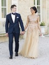 Stunning A-line Scoop Neck Tulle Crystal Detailing Sweep Train Champagne Wedding Dresses #PDS00022530