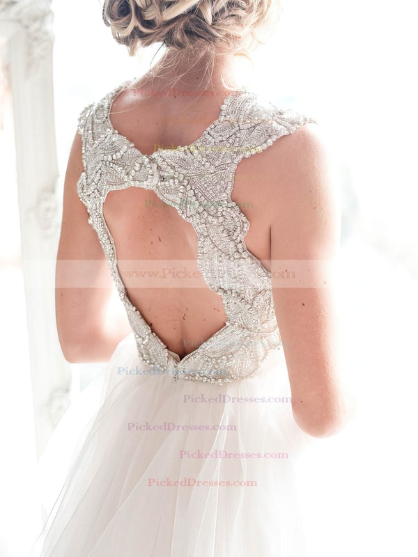 A-line V-neck Tulle Sweep Train Beading Glamorous Open Back Wedding Dresses #PDS00022532