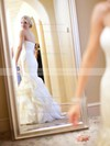 Trumpet/Mermaid Organza Court Train Cascading Ruffles Ladies Strapless Wedding Dresses #PDS00022533