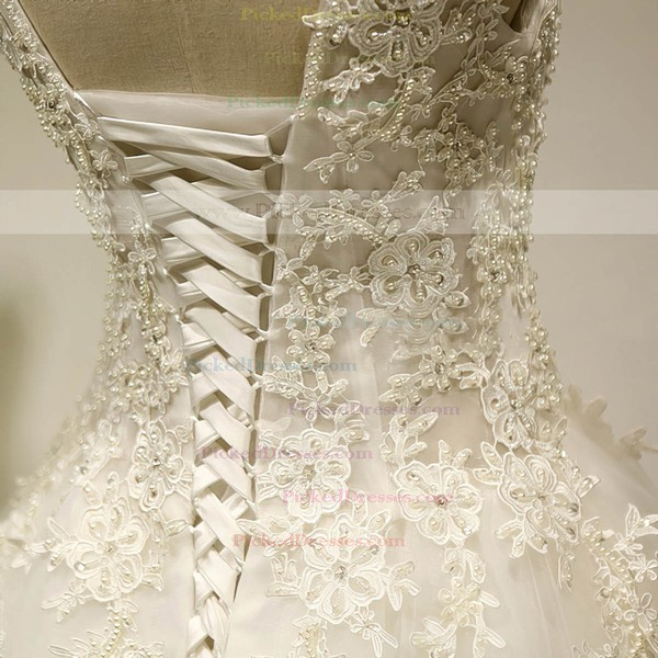 Scoop Neck Tulle Court Train Appliques Lace Graceful Ball Gown Wedding Dresses #PDS00022534