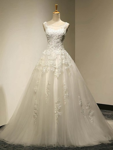 Scoop Neck Tulle Court Train Appliques Lace Graceful Ball Gown Wedding Dresses #PDS00022534