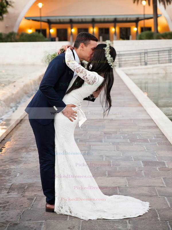 Fashion Sheath/Column V-neck Sweep Train Bow Long Sleeve Lace Wedding Dresses #PDS00022535