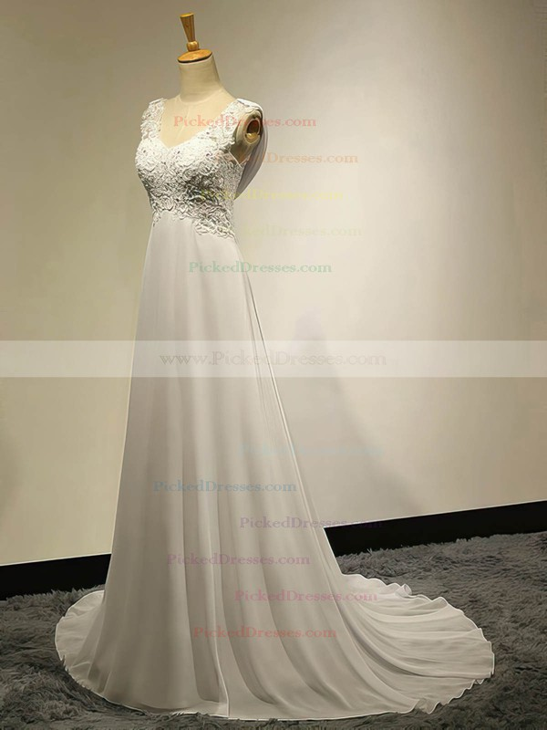 Affordable Sweetheart Chiffon Sweep Train Appliques Lace Ivory Empire Wedding Dresses #PDS00022536