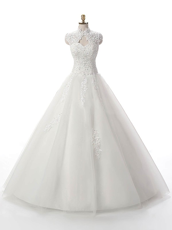 Ball Gown Tulle Floor-length Appliques Lace White Noble High Neck Wedding Dresses #PDS00022537