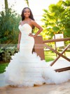 Sexy Sweetheart Tulle Sweep Train Cascading Ruffles Trumpet/Mermaid Backless Wedding Dresses #PDS00022538