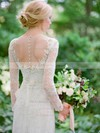 Beautiful Scoop Neck Tulle Floor-length Appliques Lace Long Sleeve Sheath/Column Wedding Dresses #PDS00022539