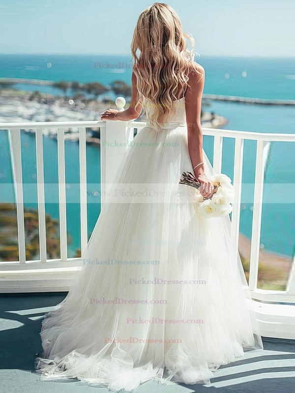 Modern A-line Sweetheart Tulle Sashes / Ribbons Sweep Train Ivory Wedding Dresses #PDS00022540