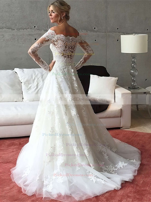 Perfect A-line Tulle Sweep Train Appliques Lace Off-the-shoulder Long Sleeve Wedding Dresses #PDS00022541