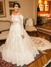 Fabulous A-line Scoop Neck Tulle Appliques Lace Chapel Train Long Sleeve Wedding Dresses #PDS00022542