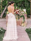 Amazing A-line V-neck Chiffon with Sequins Sweep Train Backless Wedding Dresses #PDS00022544