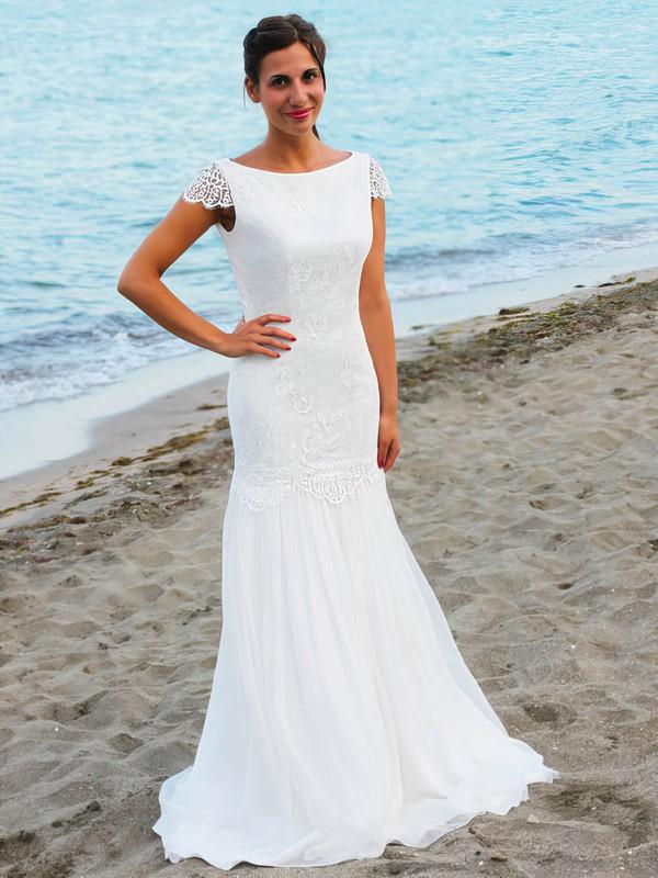 Trendy Scoop Neck Chiffon Floor-length Lace Open Back Trumpet/Mermaid Wedding Dresses #PDS00022545