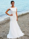 Trendy Scoop Neck Chiffon Floor-length Lace Open Back Trumpet/Mermaid Wedding Dresses #PDS00022545