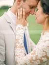 Two Piece A-line Scalloped Neck Tulle Appliques Lace Long Sleeve Unique Asymmetrical Wedding Dresses #PDS00022546