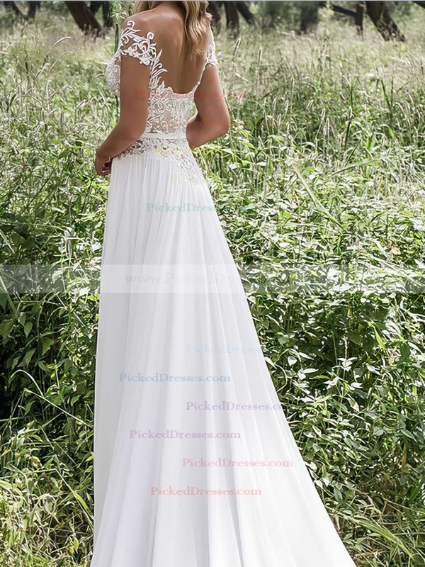Sheath/Column Scoop Neck Chiffon Tulle Appliques Lace Sweep Train Popular Wedding Dresses #PDS00022547