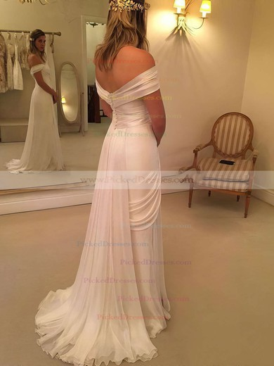 Classy Sheath/Column Chiffon Lace Watteau Train Off-the-shoulder Backless Wedding Dresses #PDS00022548