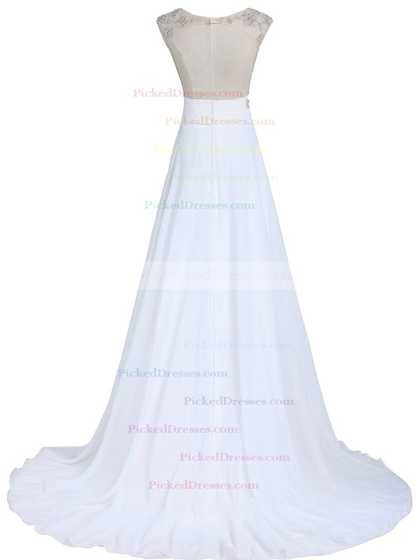 White A-line Scoop Neck Chiffon Tulle Beading Sweep Train Open Back Cheap Wedding Dresses #PDS00022549