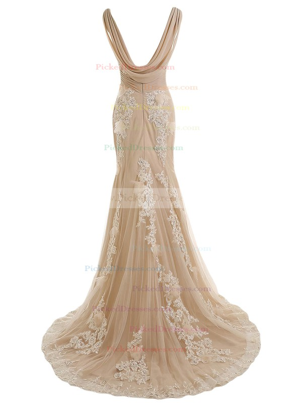 Original Trumpet/Mermaid Tulle Sweep Train Appliques Lace V-neck Backless Wedding Dresses #PDS00022550