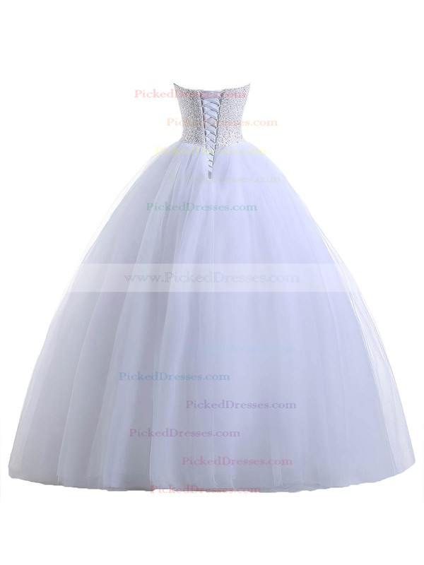 Sweetheart Tulle Floor-length Beading Lace-up Classic Ball Gown Wedding Dresses #PDS00022551