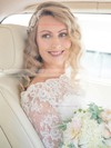 Newest A-line Scalloped Neck Lace Chiffon Sashes / Ribbons Sweep Train 3/4 Sleeve Wedding Dresses #PDS00022552