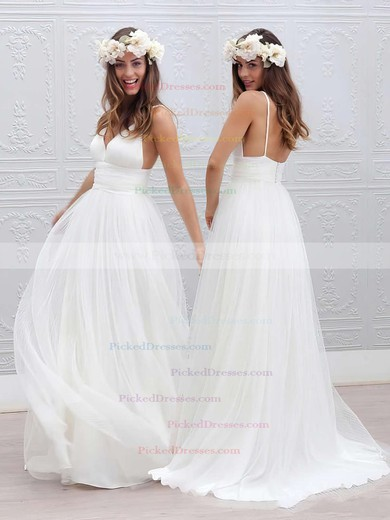 Stunning A-line Tulle Sweep Train Pleats V-neck Backless Wedding Dresses #PDS00022553