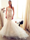 Trumpet/Mermaid Scoop Neck Tulle Appliques Lace Chapel Train Ivory Latest Wedding Dresses #PDS00022554