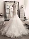 Trumpet/Mermaid Scoop Neck Tulle Appliques Lace Chapel Train Ivory Latest Wedding Dresses #PDS00022554