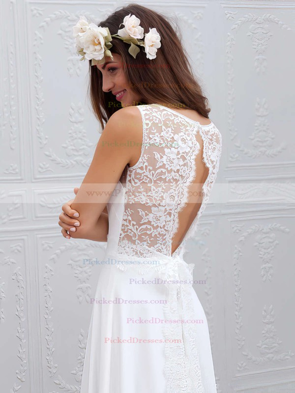 New Style V-neck Lace Chiffon Sweep Train Sashes / Ribbons White Sheath/Column Wedding Dresses #PDS00022555