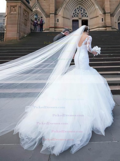 Trumpet/Mermaid V-neck Tulle Court Train Appliques Lace 3/4 Sleeve Top Backless Wedding Dresses #PDS00022556