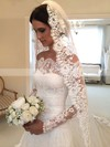 Online A-line Lace Tulle Watteau Train Appliques Lace Off-the-shoulder Long Sleeve Wedding Dress #PDS00022557