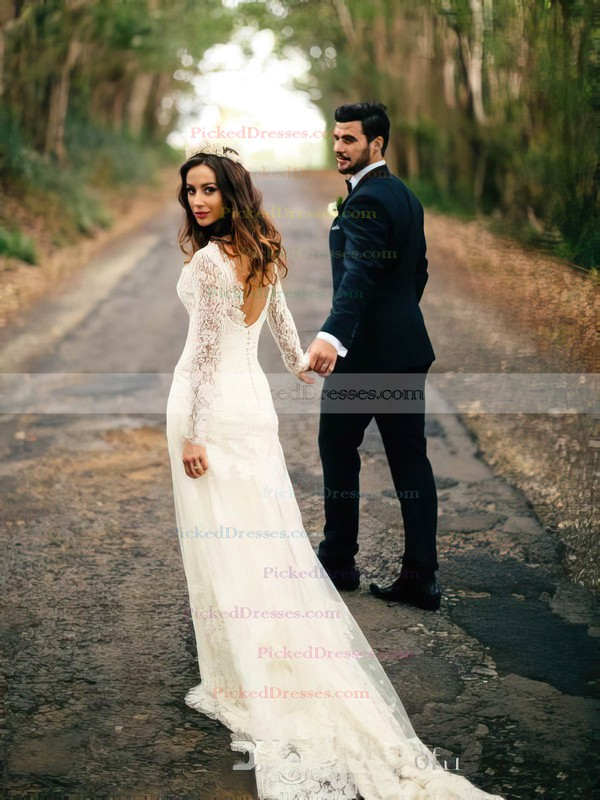 Ladies Sheath/Column Lace Tulle Sweep Train Appliques Lace V-neck Long Sleeve Backless Wedding Dress #PDS00022558