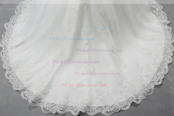 Off-the-shoulder Organza Court Train Beading Short Sleeve Vintage Ball Gown Wedding Dress #PDS00022559
