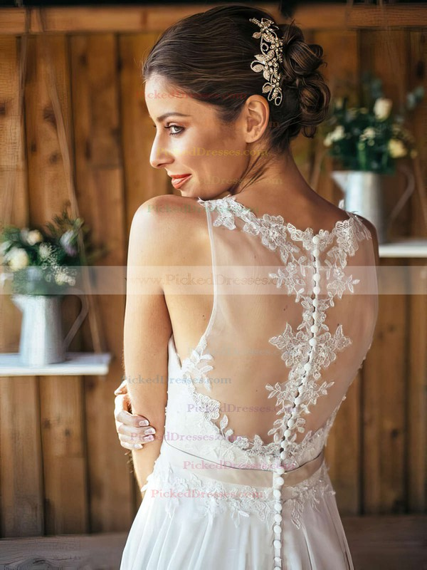 Nice A-line Scoop Neck Chiffon Appliques Lace Sweep Train White Wedding Dresses #PDS00022561