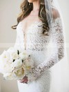 Open Back Trumpet/Mermaid Lace Watteau Train Long Sleeve Women's Off-the-shoulder Wedding Dress #PDS00022562