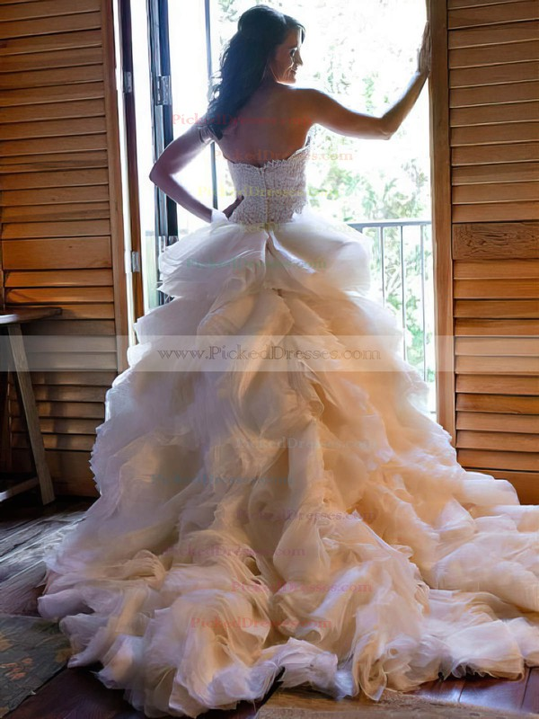 A-line Sweetheart Organza Appliques Lace Court Train Different Wedding Dresses #PDS00022563