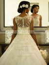 A-line Scoop Neck Tulle with Appliques Lace Sweep Train Beautiful Wedding Dresses #PDS00022564