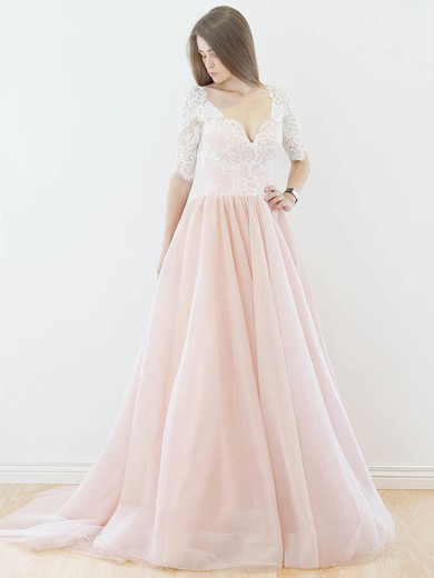 Pretty A-line V-neck Lace Tulle Sweep Train 1/2 Sleeve Backless Wedding Dresses #PDS00022565