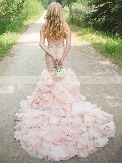 Trumpet/Mermaid Sweetheart Organza Cascading Ruffles Court Train Unique Wedding Dress #PDS00022566