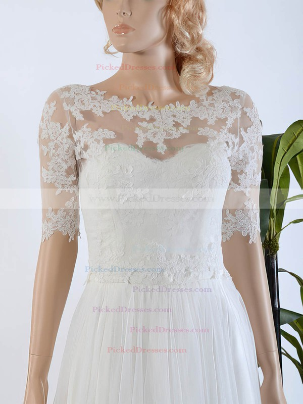 Affordable A-line Scoop Neck Tulle Chiffon Appliques Lace Sweep Train 1/2 Sleeve Wedding Dresses #PDS00022567