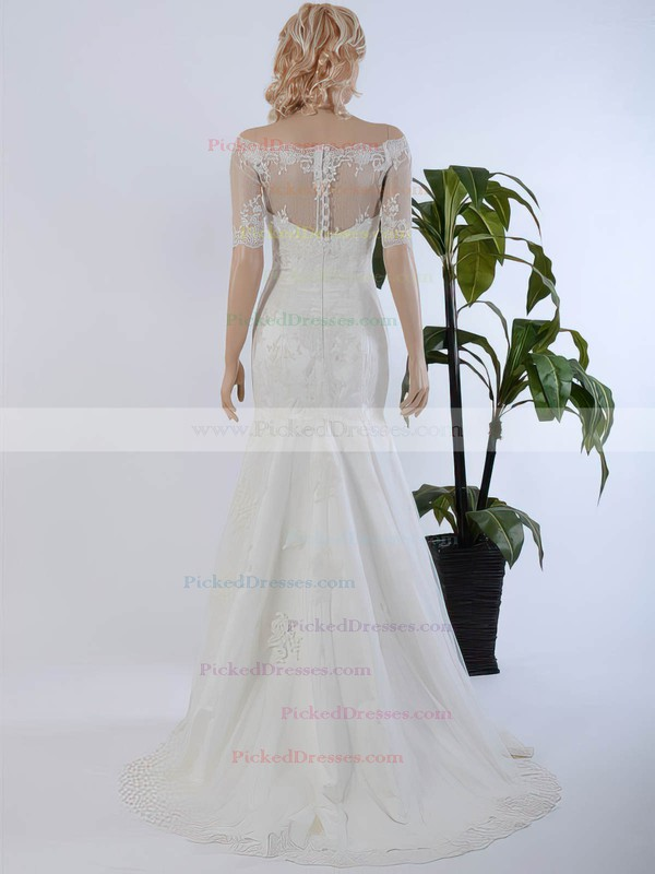 Trumpet/Mermaid Tulle Sweep Train Appliques Lace 1/2 Sleeve Off-the-shoulder Custom Wedding Dresses #PDS00022568