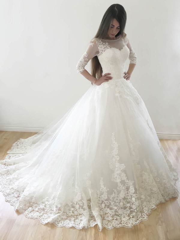 Best Princess Scoop Neck Tulle Appliques Lace Court Train 3/4 Sleeve Wedding Dresses #PDS00022569