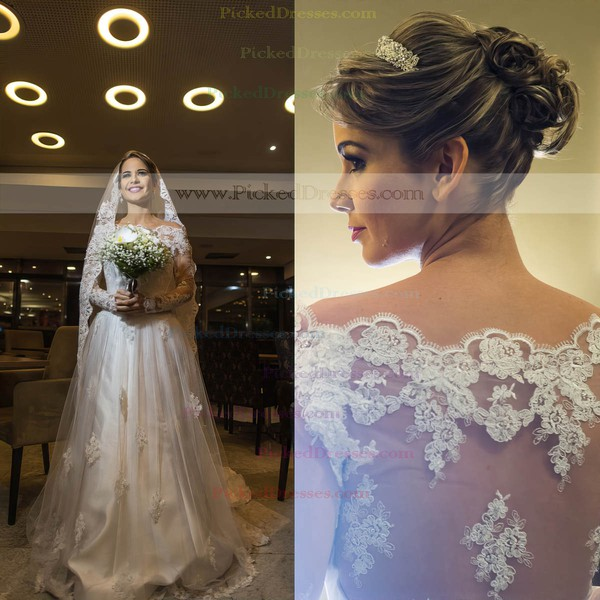 A-line Off-the-shoulder Tulle Appliques Lace Sweep Train Long Sleeve Good Wedding Dress #PDS00022570
