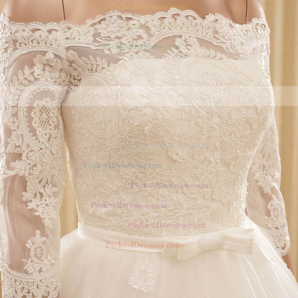 Boutique A-line Off-the-shoulder Tulle Appliques Lace Chapel Train 3/4 Sleeve Wedding Dress #PDS00022571