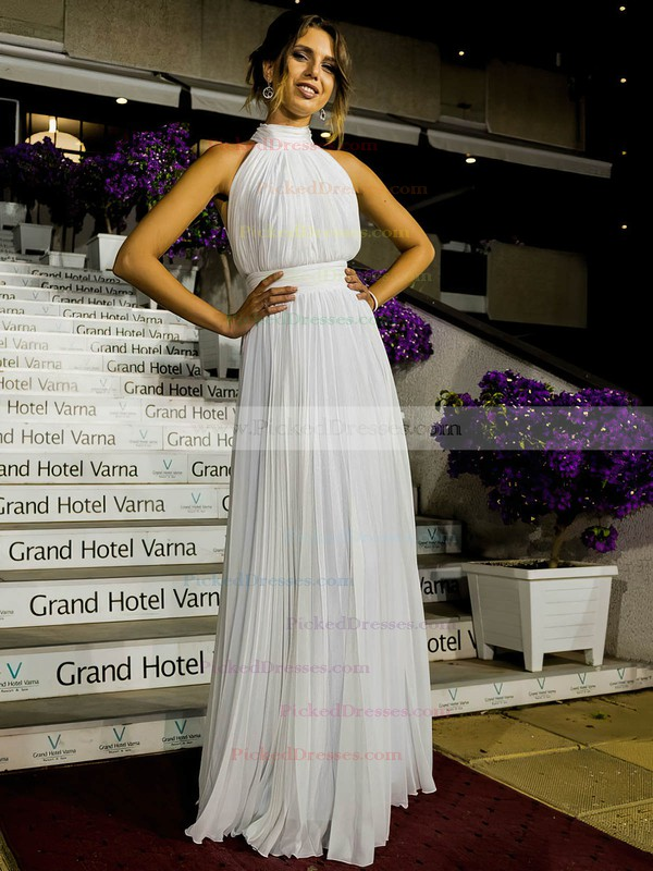 Casual A-line Chiffon Floor-length Ruffles Open Back High Neck Wedding Dresses #PDS00022572