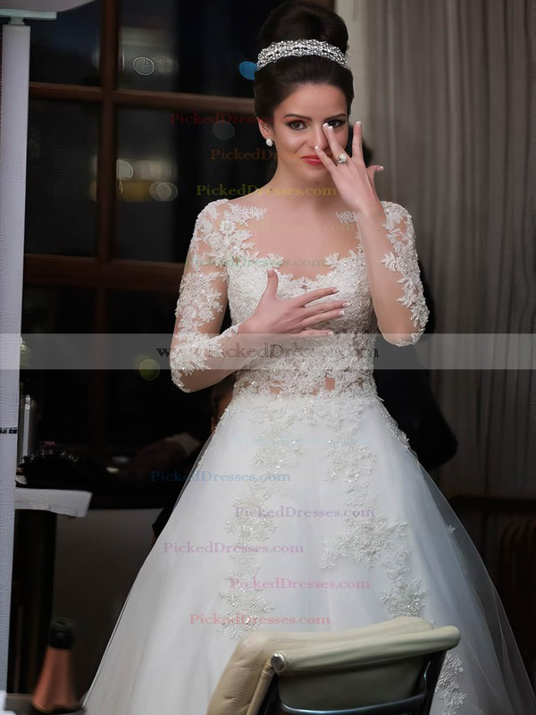 Exclusive A-line Scoop Neck Tulle Appliques Lace Sweep Train Long Sleeve Wedding Dress #PDS00022573