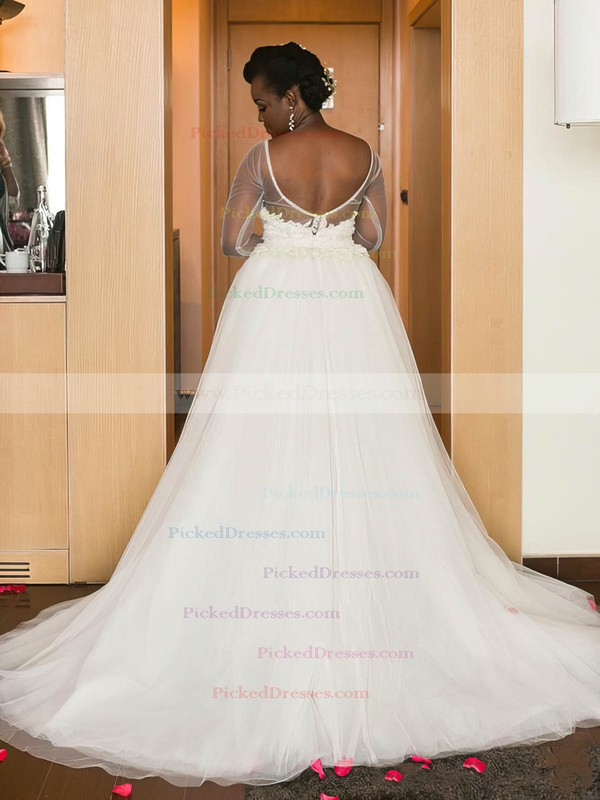 Backless A-line Scoop Neck Tulle Appliques Lace Long Sleeve Classy Asymmetrical Wedding Dress #PDS00022574