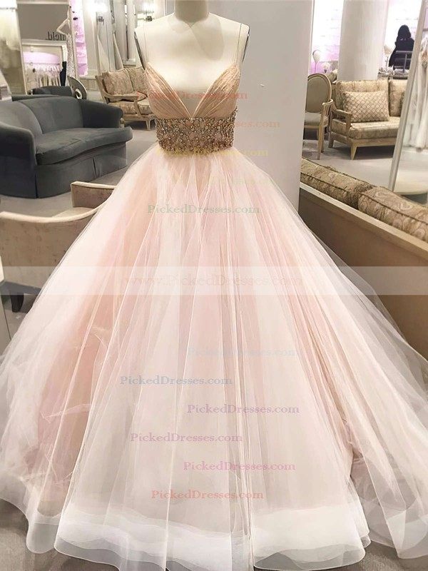 Latest Princess V-neck Tulle Crystal Detailing Court Train Backless Wedding Dresses #PDS00022575