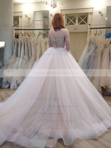 Latest Princess V-neck Tulle Crystal Detailing Court Train Backless Wedding Dresses #PDS00022575